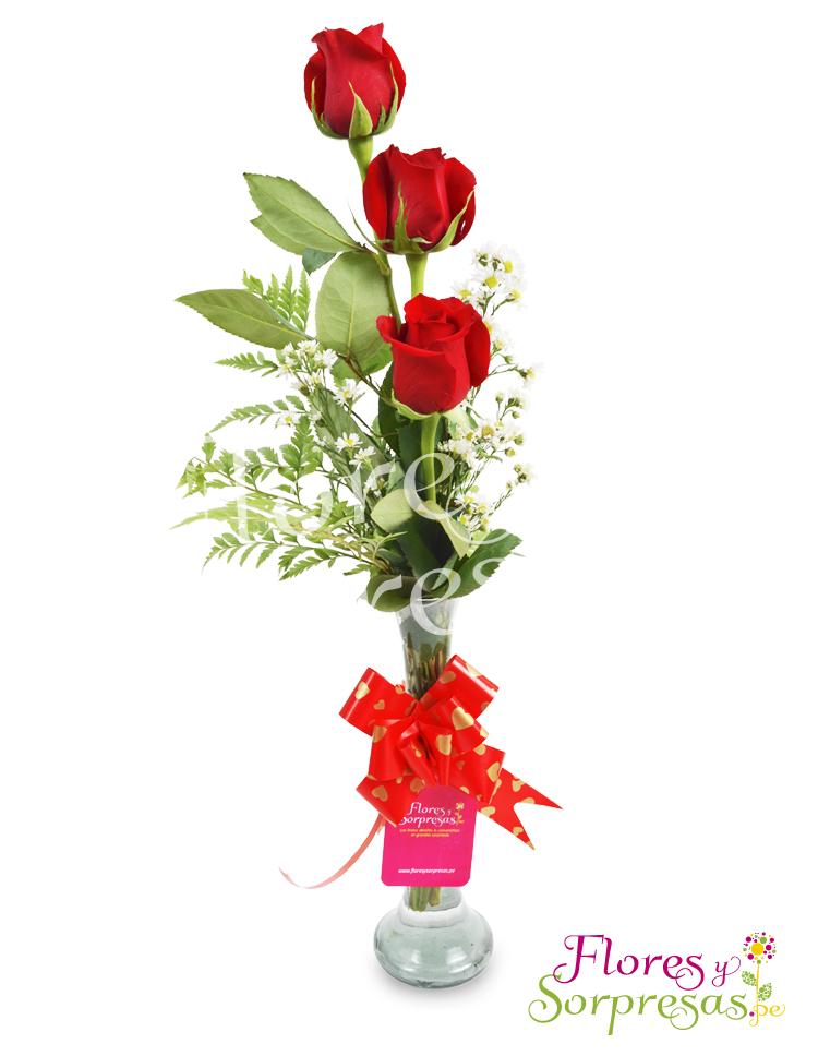 florero con tres rosas rojas - Fotos De Rosas Rojas Grandes