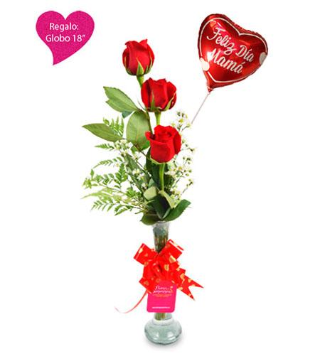 5 Floreros Con Tres Rosas Rojas